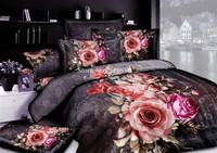 Wholesale,100% cotton bed linens 3D 4pcs pink rose flowers oil painting quilt/duvet covers full/queen comforter bedding sets