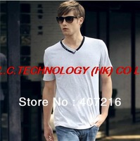 wholesale Men's elegant short-sleeved short V- collar man short-sleeved's t-shirts fashionable  t-shirt for men