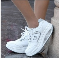 Free shipping new arrival slimming swing female genuine leather gauze platform shoes weight loss shoes sports swing single