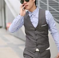 Summer thin british style vest grey men's business casual clothing men's suit vest
