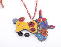 2pcs/lot wholesale new women necklace lovely cartoon Animal acrylic mouse pendant necklace for girl