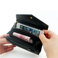 HOT SELL Free Shipping Cheap Famous Brand Women PU Leather envelope card wallet leather purse case for galaxy