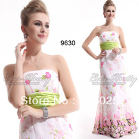 Free Shipping 09630 2014 New Arrival Elegent Strapless Floral Printed Chiffon Empire Line Evening Dress