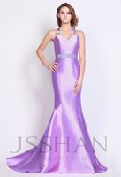 12P086 Halter Sleeveless Mermaid Twill Satin Train Gorgeous Luxury Unique Brilliant Prom Evening Dress Fancy Dress Party