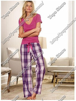 Victoria vs derlook 100% cotton plaid trousers female pajama pants 245758