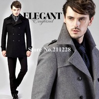 winter fashion men's business grey trench coat , male slim fit formal woolen buttons overcoat  , double breasted long outerwear