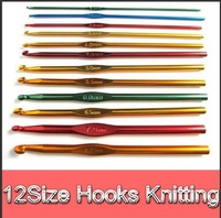12pcs/set Mixed 6 Inch Aluminum Knit Knitting Crochet Hook Needle Weave Craft Tools Free shipping