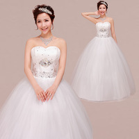2014 New Arrival Sweet Princess Tube Top Bandage Wedding Dress White Diamond Wedding Dresses China Supplier Drop Shipping