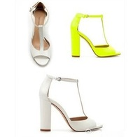 New 2014  Plus Szie 41 10 Sexy Neon Yellow White Block Heel  Women's OpenToe Ankle Belt High Heels Women Sandals