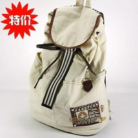 2013 Vintage Canvas Bag Female Double-shoulder Drawstring Backpack School bag