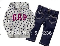 2013 HOT SALES baby boy girls long sleeve autumn winter hooded suit kids winter marm jeans set clothes 6set/lot free shipping