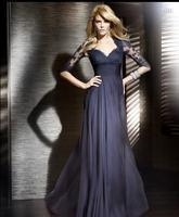 free shipping 2014 Evening Dress custom vestido de renda long sleeved maxi lace long chiffon gown haute couture double v neck