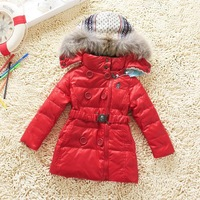 Hot New 2013 winter White duck down girls coat Girl long down jacket Kids clothes Children Outerwear