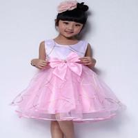 Hot ! Baby Girl Dresses 2014 Summer  Kids Girl Sleeveless  Dresses Children  Flower Girl Vest  , Bow Belt Pink Veil Dress