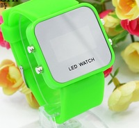 15 pcs/lot Fashion Plastic LED Watch Digital Watch LED Mirror Watch Silicone Watches Hot Sale DHL shipping sw06
