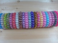 hot cheap 500pcs Korea Hot Elastic Hair Band candy color big telephone line hair bands circle hair rope Hair Accessories