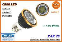 Free shipping High power CREE Led par 20 Lamp Dimmable 12W E27 900lm Led Light 85-265V Spotlight 30 38 bulb lighting downlight