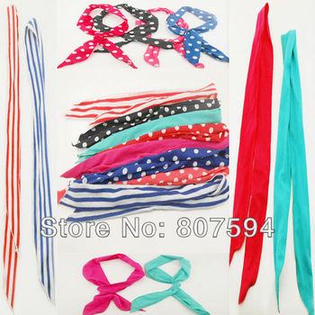 FREE SHIPPING 8 PCS /lot  Rabbit Bunny Ear DIY Wire cute girl Headband Scarf Hair Band Bow Head Wrap Polkadot 80cm Colorful Q07