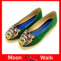 2013 latest hottest selling embroidery tiger head cashmere colorful flat shoes Women's stylish Free Shipping Z066