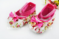 Pink bows toddler baby girl soft sole footwear kids Mary Jane baby shoes  X02