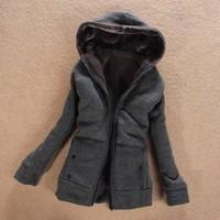 2013 autumn women's berber fleece thickening women's with a hood cotton-padded jacket cotton-padded jacket zipper outerwear