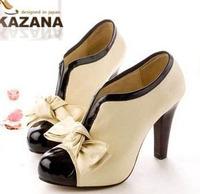 2013 HOT Korean Sexy Lady Beige Bow women Pump Platform High Heel Women Dress Shoes, free shipping, EURO size 35-40