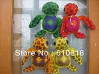 Free Shipping 4Pcs/Lot 4 Colors Big Eyes Turtle Tortoise Stuffed Plush Glass Sucker Toys Children Gifts Car Home Decor Toys