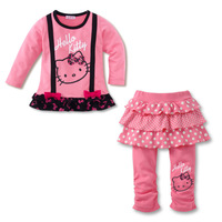 baby girls fashion long sleeve t-shirts skirt Leggings pants clothing sets hello kitty print clothes product childrens christmas