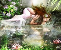 Freeshipping  intricate needlework 100% precision printing cross stitch kit embroidery beauty fairy girl / water /  lotuses