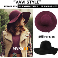 Wave women's woolen cap dome hat cashmere large brim hat