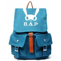 k-pop bap B.A.P Washed canvas rucksack knapsack travelling bag schoolbag blue/grey