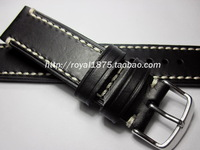 Antique handmade genuine leather watchband male 20mm black calf skin watchband retro finishing bold