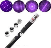 fast shipping 5 in1 Mid-open 405nm 50mw/100mW sky full of stars Purple Laser Pointer Kaleidoscopic Laser Pen 5 * head