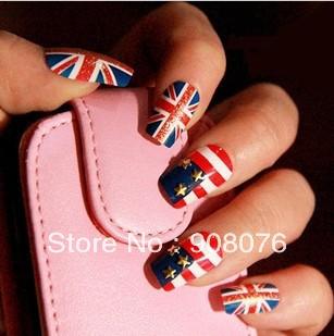 Best Selling!!New Arrival 24 pcs UK Flag False Nails Brand Fake Tip 2 packs/lot+Free Shipping(China (Mainland))