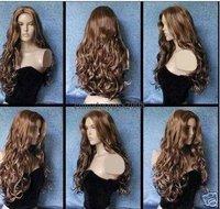 Fashion Super Pretty Stylish Long Human Made Hair wig/wigs Free shipping