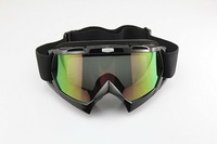 Free shipping Ski Motorcycle Winter Sports Goggles Eyewear Single Lens Clears colour lens and Frame Black