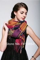 Lady Winter Warm Long Cotton Cowl Colorful Plaid Neck Warmers Scarf Shawl 1 Piece C0888