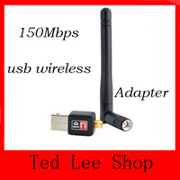 Free Shipping Mini USB WiFi Wireless LAN Adapter Network Card 150Mbps 802.11 n / g /b with Antenna Laptop accessries