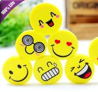 Promotion!!! Free Shipping 100pcs Pencil Use Cute Cartoon Smile Expressions Rubber Kids Creative Stationery Erasers