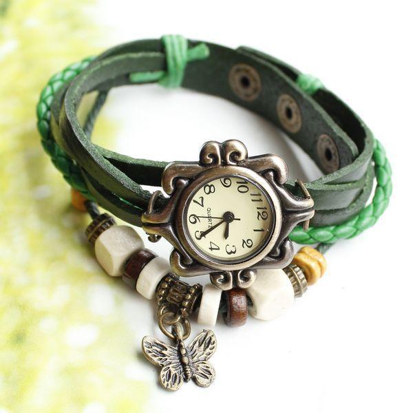 New Free shipping ladies women vintage bracelet watch butteryfly pendant Genuine cow leather quartz wristwatches(China (Mainland))