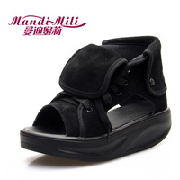 Honey 2013 summer genuine leather platform sandals swing slimming shoes high female sandals