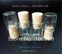 ECO Cork usb flash drive with glass bottle- Wishing Bottle usb drive Free shipping 50pcs/lot