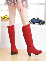 female spring and autumn high-leg nubuck leather thick heel high heels Boots red