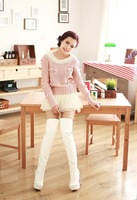 female over-the-knee lacing japanned leather platform high-heeled sexy white boots