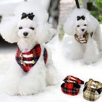 Scottish style adjustbale pet leash retro plaid dog fashion dog harness free shipping