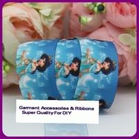 "Free Shipping 100 yard 7/8"" 22mm cartoon blue princess printed grosgrain ribbon hairbow wholesales for DIY"