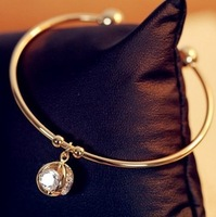 free shipping 18k gold plated round zircon pendant bangle bracelet Min Order 8$