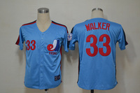 Hot Montreal Expos #33 Larry Walker Blue Throwback Baseball Jerseys Embroidery logos Free Shipping Size 48-56