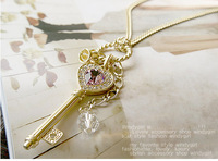 Free shipping (MIX order $10) Jewelry wholesale Amethyst love golden crown key pendant Necklace