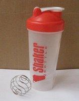 RED 600ml Shaker Bottle Wire Wisk Shaker Mixing Ball Protein Blender